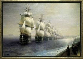 Luxury Framed Wall Art Fleet parade, Glowing in the dark, 70 x 100 cm
