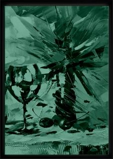 Luxury Framed Wall Art Glass and vase, Glowing in the dark, 70 x 100 cm
