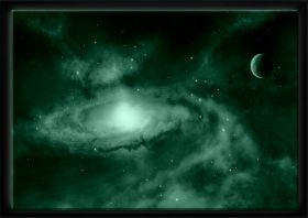 Luxury Framed Wall Art Another galaxy, Glowing in the dark, 70 x 100 cm
