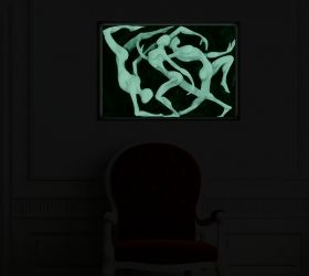 Luxury Framed Wall Art Abstract silhouettes, Glowing in the dark, 70 x 100 cm