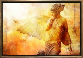 Luxury Framed Wall Art Angel, Glowing in the dark, 50 x 70 cm