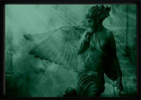 Luxury Framed Wall Art Angel, Glowing in the dark, 70 x 100 cm