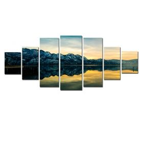 Canvas Wall Art The mirror of the lake, Glowing in the dark, Set of 7, 100 x 240 cm (1 panel 40 x 100 cm, 2 panels 35 x 90 cm, 2 panels 30 x 60 cm, 2 panels 30 x 40 cm)