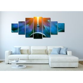 Canvas Wall Art Genesis, Glowing in the dark, Set of 7, 100 x 240 cm (1 panel 40 x 100 cm, 2 panels 35 x 90 cm, 2 panels 30 x 60 cm, 2 panels 30 x 40 cm)