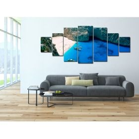 Canvas Wall Art Zakinthos, Glowing in the dark, Set of 7, 100 x 240 cm (1 panel 40 x 100 cm, 2 panels 35 x 90 cm, 2 panels 30 x 60 cm, 2 panels 30 x 40 cm)