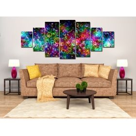 Canvas Wall Art Multicolors Abstract, Glowing in the dark, Set of 7, 100 x 240 cm (1 panel 40 x 100 cm, 2 panels 35 x 90 cm, 2 panels 30 x 60 cm, 2 panels 30 x 40 cm)