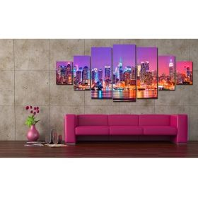 Canvas Wall Art City lights II, Glowing in the dark, Set of 7, 100 x 240 cm (1 panel 40 x 100 cm, 2 panels 35 x 90 cm, 2 panels 30 x 60 cm, 2 panels 30 x 40 cm)