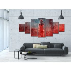 Canvas Wall Art Cosmic silhouette, Glowing in the dark, Set of 7, 100 x 240 cm (1 panel 40 x 100 cm, 2 panels 35 x 90 cm, 2 panels 30 x 60 cm, 2 panels 30 x 40 cm)