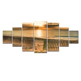Canvas Wall Art Sunset at shore, Glowing in the dark, Set of 7, 100 x 240 cm (1 panel 40 x 100 cm, 2 panels 35 x 90 cm, 2 panels 30 x 60 cm, 2 panels 30 x 40 cm)