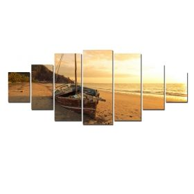 Canvas Wall Art Boat on the beach at sunset, Glowing in the dark, Set of 7, 100 x 240 cm (1 panel 40 x 100 cm, 2 panels 35 x 90 cm, 2 panels 30 x 60 cm, 2 panels 30 x 40 cm)