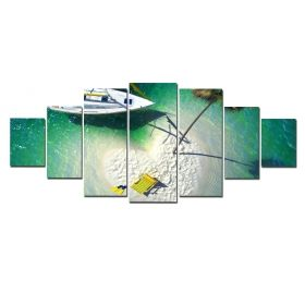 Canvas Wall Art Holiday in paradise, Glowing in the dark, Set of 7, 100 x 240 cm (1 panel 40 x 100 cm, 2 panels 35 x 90 cm, 2 panels 30 x 60 cm, 2 panels 30 x 40 cm)