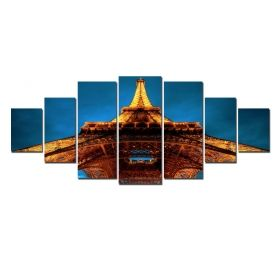 Canvas Wall Art Eiffel Tower, Glowing in the dark, Set of 7, 100 x 240 cm (1 panel 40 x 100 cm, 2 panels 35 x 90 cm, 2 panels 30 x 60 cm, 2 panels 30 x 40 cm)