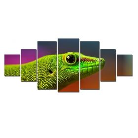 Canvas Wall Art Lizard, Glowing in the dark, Set of 7, 100 x 240 cm (1 panel 40 x 100 cm, 2 panels 35 x 90 cm, 2 panels 30 x 60 cm, 2 panels 30 x 40 cm)