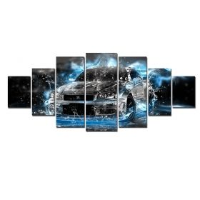 Canvas Wall Art Black abstract car, Glowing in the dark, Set of 7, 100 x 240 cm (1 panel 40 x 100 cm, 2 panels 35 x 90 cm, 2 panels 30 x 60 cm, 2 panels 30 x 40 cm)