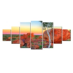 Canvas Wall Art Red stones, Glowing in the dark, Set of 7, 100 x 240 cm (1 panel 40 x 100 cm, 2 panels 35 x 90 cm, 2 panels 30 x 60 cm, 2 panels 30 x 40 cm)