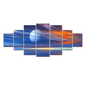 Canvas Wall Art Colors in the space, Glowing in the dark, Set of 7, 100 x 240 cm (1 panel 40 x 100 cm, 2 panels 35 x 90 cm, 2 panels 30 x 60 cm, 2 panels 30 x 40 cm)