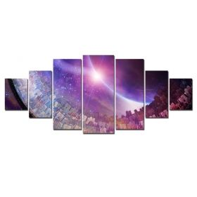 Canvas Wall Art Violet Abstract, Glowing in the dark, Set of 7, 100 x 240 cm (1 panel 40 x 100 cm, 2 panels 35 x 90 cm, 2 panels 30 x 60 cm, 2 panels 30 x 40 cm)