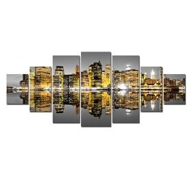 Canvas Wall Art Mirrored City, Glowing in the dark, Set of 7, 100 x 240 cm (1 panel 40 x 100 cm, 2 panels 35 x 90 cm, 2 panels 30 x 60 cm, 2 panels 30 x 40 cm)