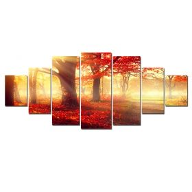 Canvas Wall Art The red forest, Glowing in the dark, Set of 7, 100 x 240 cm (1 panel 40 x 100 cm, 2 panels 35 x 90 cm, 2 panels 30 x 60 cm, 2 panels 30 x 40 cm)