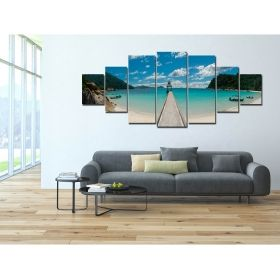 Canvas Wall Art Summer on the beach, Glowing in the dark, Set of 7, 100 x 240 cm (1 panel 40 x 100 cm, 2 panels 35 x 90 cm, 2 panels 30 x 60 cm, 2 panels 30 x 40 cm)