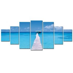 Canvas Wall Art Pontoon on the beach, Glowing in the dark, Set of 7, 100 x 240 cm (1 panel 40 x 100 cm, 2 panels 35 x 90 cm, 2 panels 30 x 60 cm, 2 panels 30 x 40 cm)