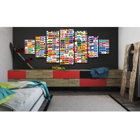 Canvas Wall Art A world of flags, Glowing in the dark, Set of 7, 100 x 240 cm (1 panel 40 x 100 cm, 2 panels 35 x 90 cm, 2 panels 30 x 60 cm, 2 panels 30 x 40 cm)