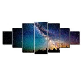 Canvas Wall Art Starry sky, Glowing in the dark, Set of 7, 100 x 240 cm (1 panel 40 x 100 cm, 2 panels 35 x 90 cm, 2 panels 30 x 60 cm, 2 panels 30 x 40 cm)