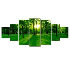 Canvas Wall Art Green forest, Glowing in the dark, Set of 7, 100 x 240 cm (1 panel 40 x 100 cm, 2 panels 35 x 90 cm, 2 panels 30 x 60 cm, 2 panels 30 x 40 cm)
