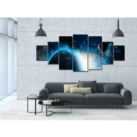 Canvas Wall Art Cosmos, Glowing in the dark, Set of 7, 100 x 240 cm (1 panel 40 x 100 cm, 2 panels 35 x 90 cm, 2 panels 30 x 60 cm, 2 panels 30 x 40 cm)