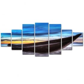 Canvas Wall Art Boat on the beach, Glowing in the dark, Set of 7, 100 x 240 cm (1 panel 40 x 100 cm, 2 panels 35 x 90 cm, 2 panels 30 x 60 cm, 2 panels 30 x 40 cm)
