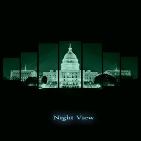 Canvas Wall Art White House, Glowing in the dark, Set of 7, 100 x 240 cm (1 panel 40 x 100 cm, 2 panels 35 x 90 cm, 2 panels 30 x 60 cm, 2 panels 30 x 40 cm)