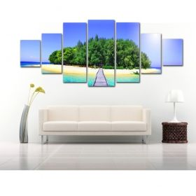 Canvas Wall Art The way to the island, Glowing in the dark, Set of 7, 100 x 240 cm (1 panel 40 x 100 cm, 2 panels 35 x 90 cm, 2 panels 30 x 60 cm, 2 panels 30 x 40 cm)