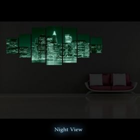 Canvas Wall Art Manhattan, Glowing in the dark, Set of 7, 100 x 240 cm (1 panel 40 x 100 cm, 2 panels 35 x 90 cm, 2 panels 30 x 60 cm, 2 panels 30 x 40 cm)