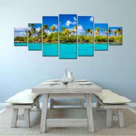 Canvas Wall Art The sunny beach, Glowing in the dark, Set of 7, 100 x 240 cm (1 panel 40 x 100 cm, 2 panels 35 x 90 cm, 2 panels 30 x 60 cm, 2 panels 30 x 40 cm)