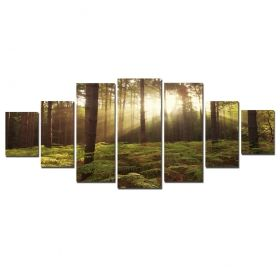 Canvas Wall Art Morning in the tropical forest, Glowing in the dark, Set of 7, 100 x 240 cm (1 panel 40 x 100 cm, 2 panels 35 x 90 cm, 2 panels 30 x 60 cm, 2 panels 30 x 40 cm)
