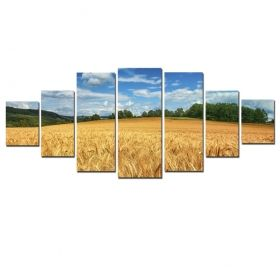 Canvas Wall Art The golden field, Glowing in the dark, Set of 7, 100 x 240 cm (1 panel 40 x 100 cm, 2 panels 35 x 90 cm, 2 panels 30 x 60 cm, 2 panels 30 x 40 cm)