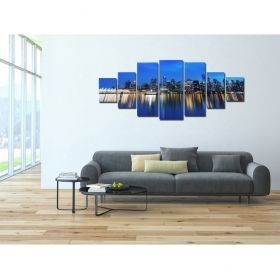 Canvas Wall Art The reflection of the city, Glowing in the dark, Set of 7, 100 x 240 cm (1 panel 40 x 100 cm, 2 panels 35 x 90 cm, 2 panels 30 x 60 cm, 2 panels 30 x 40 cm)