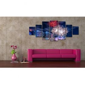 Canvas Wall Art Fireworks across the city, Glowing in the dark, Set of 7, 100 x 240 cm (1 panel 40 x 100 cm, 2 panels 35 x 90 cm, 2 panels 30 x 60 cm, 2 panels 30 x 40 cm)