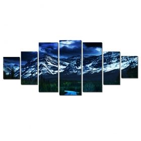 Canvas Wall Art The road to the mountains, Glowing in the dark, Set of 7, 100 x 240 cm (1 panel 40 x 100 cm, 2 panels 35 x 90 cm, 2 panels 30 x 60 cm, 2 panels 30 x 40 cm)