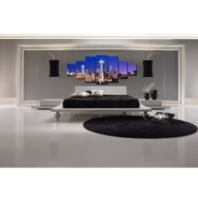 Canvas Wall Art City lights, Glowing in the dark, Set of 7, 100 x 240 cm (1 panel 40 x 100 cm, 2 panels 35 x 90 cm, 2 panels 30 x 60 cm, 2 panels 30 x 40 cm)
