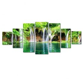 Canvas Wall Art Waterfall in the forest, Glowing in the dark, Set of 7, 100 x 240 cm (1 panel 40 x 100 cm, 2 panels 35 x 90 cm, 2 panels 30 x 60 cm, 2 panels 30 x 40 cm)