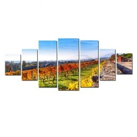 Canvas Wall Art Autumn in the vineyard, Glowing in the dark, Set of 7, 100 x 240 cm (1 panel 40 x 100 cm, 2 panels 35 x 90 cm, 2 panels 30 x 60 cm, 2 panels 30 x 40 cm)