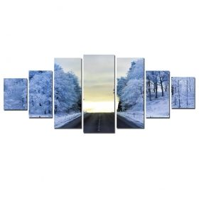 Canvas Wall Art Frosty road, Glowing in the dark, Set of 7, 100 x 240 cm (1 panel 40 x 100 cm, 2 panels 35 x 90 cm, 2 panels 30 x 60 cm, 2 panels 30 x 40 cm)