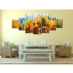 Canvas Wall Art Autumn on the lake, Glowing in the dark, Set of 7, 100 x 240 cm (1 panel 40 x 100 cm, 2 panels 35 x 90 cm, 2 panels 30 x 60 cm, 2 panels 30 x 40 cm)