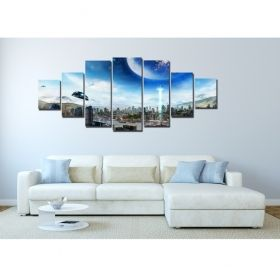 Canvas Wall Art City of the future, Glowing in the dark, Set of 7, 100 x 240 cm (1 panel 40 x 100 cm, 2 panels 35 x 90 cm, 2 panels 30 x 60 cm, 2 panels 30 x 40 cm)