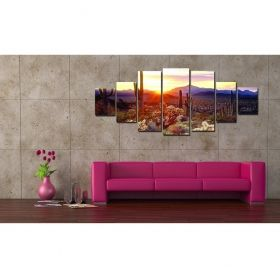 Canvas Wall Art Landscape of Arizona, Glowing in the dark, Set of 7, 100 x 240 cm (1 panel 40 x 100 cm, 2 panels 35 x 90 cm, 2 panels 30 x 60 cm, 2 panels 30 x 40 cm)