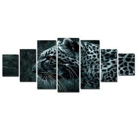 Canvas Wall Art Elegant feline, Glowing in the dark, Set of 7, 100 x 240 cm (1 panel 40 x 100 cm, 2 panels 35 x 90 cm, 2 panels 30 x 60 cm, 2 panels 30 x 40 cm)