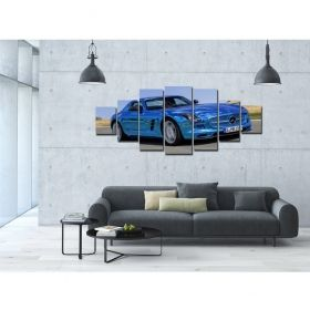 Canvas Wall Art Blue sports car, Glowing in the dark, Set of 7, 100 x 240 cm (1 panel 40 x 100 cm, 2 panels 35 x 90 cm, 2 panels 30 x 60 cm, 2 panels 30 x 40 cm)
