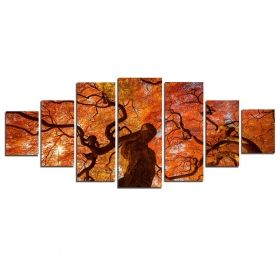 Canvas Wall Art Red maple, Glowing in the dark, Set of 7, 100 x 240 cm (1 panel 40 x 100 cm, 2 panels 35 x 90 cm, 2 panels 30 x 60 cm, 2 panels 30 x 40 cm)