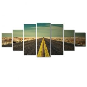 Canvas Wall Art Straight road, Glowing in the dark, Set of 7, 100 x 240 cm (1 panel 40 x 100 cm, 2 panels 35 x 90 cm, 2 panels 30 x 60 cm, 2 panels 30 x 40 cm)